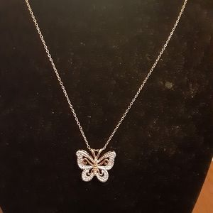 Silver with Gold Plated Butterfly Necklace
